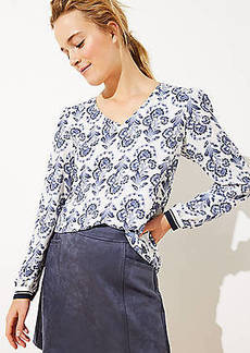 LOFT Floral V-Neck Blouse