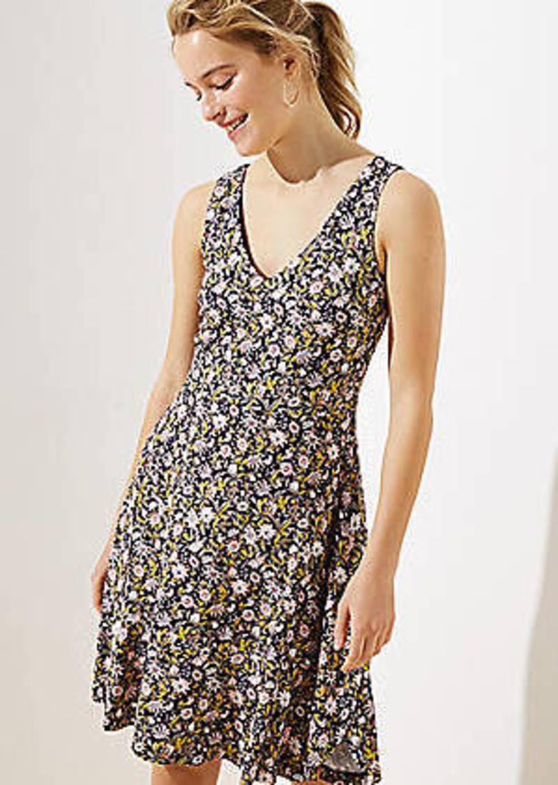 Floral V-Neck Flounce Flare Dress