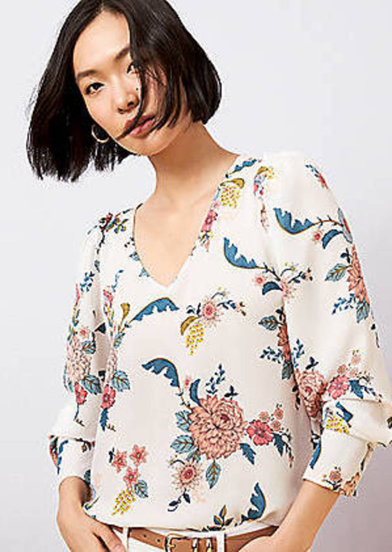 LOFT Floral V-Neck Puff Sleeve Blouse
