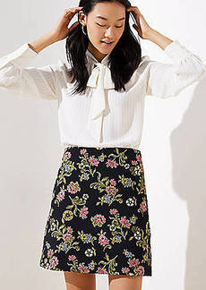 LOFT Floral Vine Jacquard Shift Skirt
