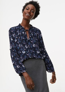 Floral Vine Ruffle Tie Mixed Media Blouse
