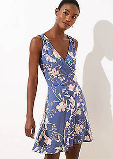 LOFT Floral Wrap Back Flare Dress