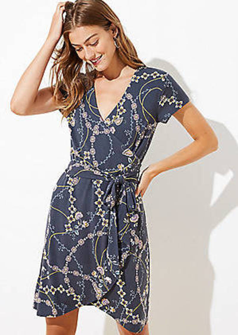 LOFT Flower Chain Short Sleeve Wrap Dress