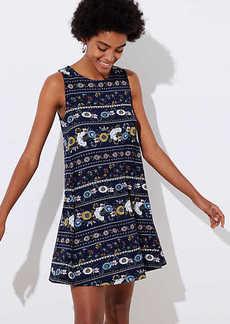 LOFT Flower Stripe Sleeveless Swing Dress