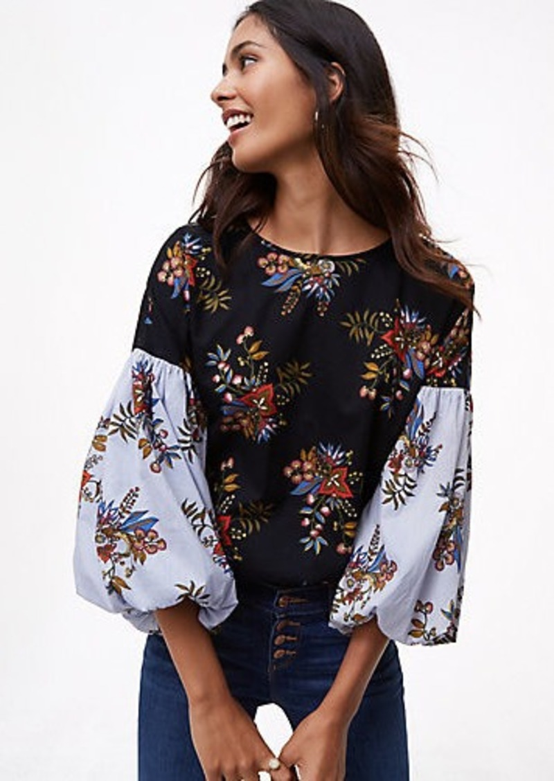 9b7a818415a9a LOFT Flowermix Lantern Sleeve Shirt