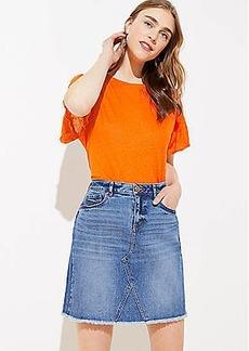 LOFT Frayed Denim Skirt