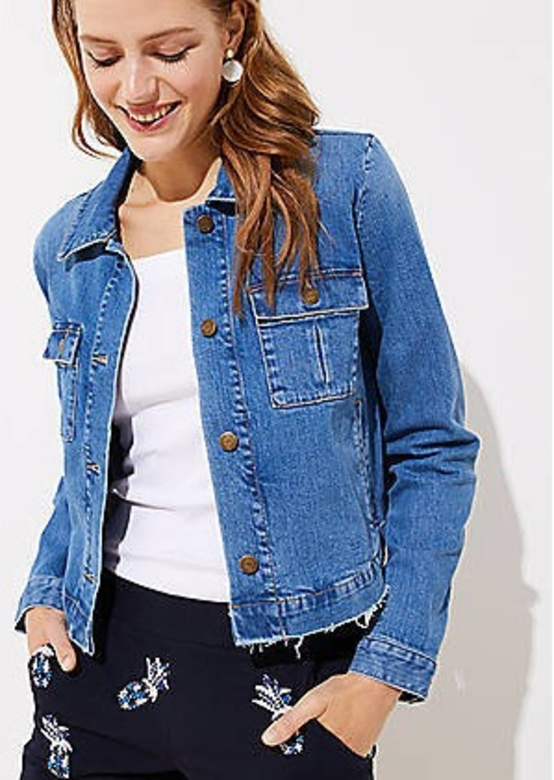 LOFT Frayed Denim Swing Jacket