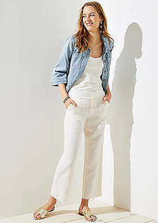 LOFT Frayed Wide Leg Pants