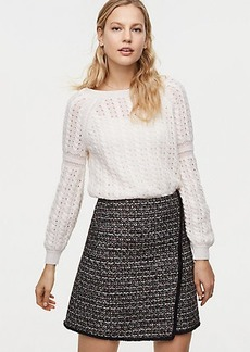 Fringe Tweed Wrap Skirt