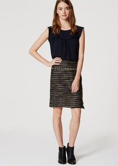 Fringe Tweed Wrap Skirt