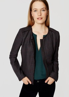 Fringe Tweed Zip Jacket