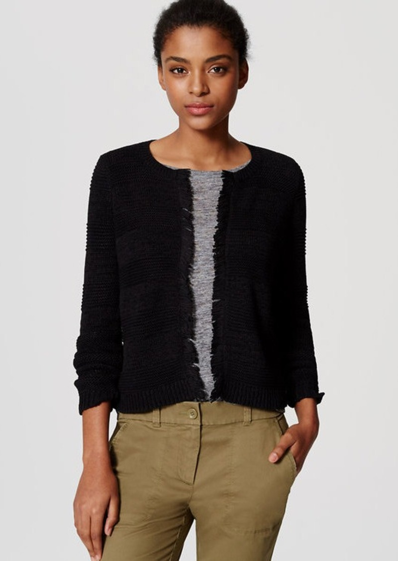 LOFT Fringed Sweater Jacket