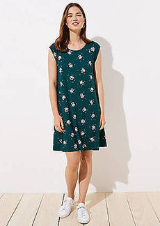 LOFT Garden Cap Sleeve Swing Dress