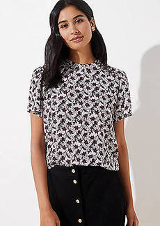 LOFT Garden Mock Neck Flutter Top