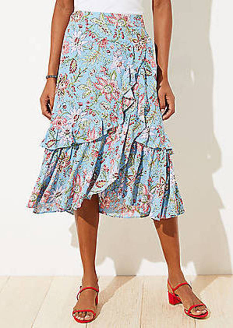 LOFT Garden Ruffle Midi Skirt