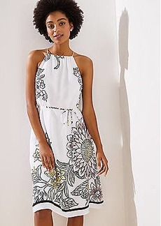 LOFT Garden Tie Waist Halter Dress