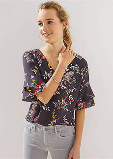 LOFT Garden V-Neck Flutter Top