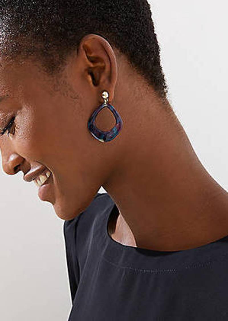 LOFT Geo Marbleized Resin Drop Earrings