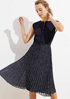 LOFT Geo Pleated Henley Dress