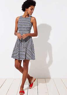 Geo Textured Flare Dress