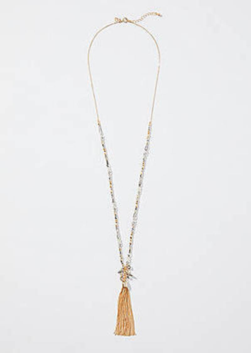 LOFT Gilded Beaded Chain Tassel Necklace