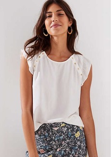 LOFT Gilded Button Flutter Top