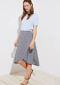 LOFT Gingham A-Line Wrap Skirt