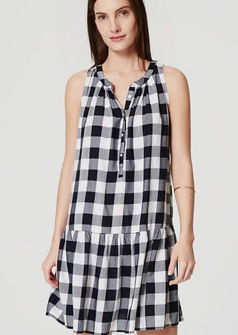 LOFT Gingham Drop Waist Dress