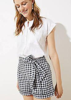 LOFT Gingham Tie Waist Shorts