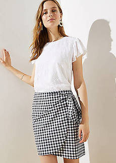 LOFT Gingham Wrap Shift Skirt