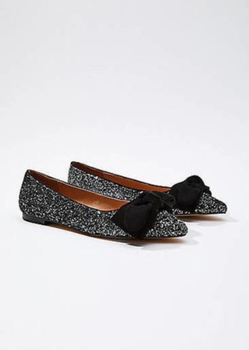 LOFT Glitter Bow Flats