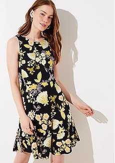 LOFT Golden Floral Flare Dress