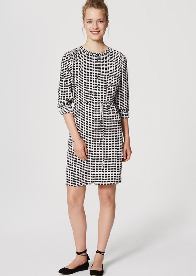 LOFT Grid Modern Henley Shirtdress