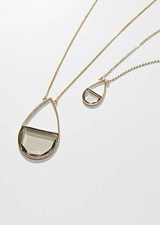 LOFT Half Circle Stone Pendant Necklace Set