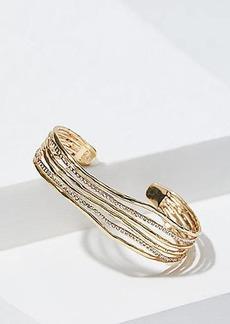 LOFT Hammered Crystal Strand Cuff Bracelet