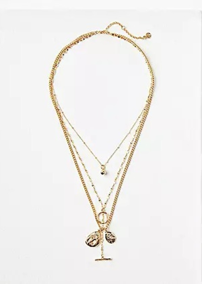 LOFT Hammered Drop Layered Necklace