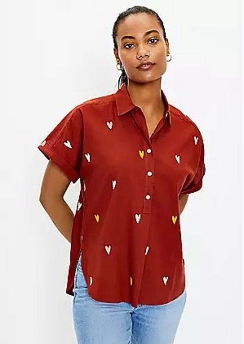 LOFT Heart Henley Dolman Shirt