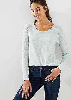 LOFT Heathered Long Sleeve Shirttail Tee