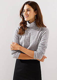 LOFT Heathered Shirttail Turtleneck