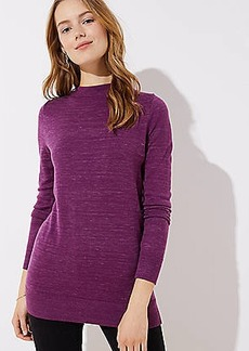 LOFT Heathered Funnel Neck Tunic Sweater