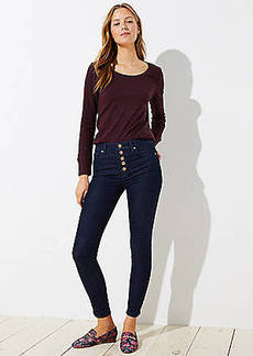 LOFT High Rise Button Fly Skinny Jeans in Dark Rinse Wash