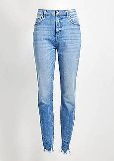 LOFT High Rise Chewed Hem Skinny Jeans in Vintage Wash