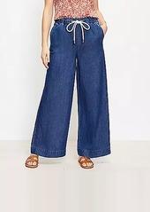 LOFT High Rise Cotton Linen Pull On Wide Leg Jeans in Indigo Seas