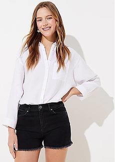 LOFT High Rise Denim Cut Off Shorts in Washed Black