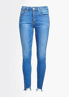 LOFT High Rise Skinny Crop Jeans in Destructed Light Wash