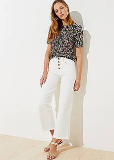 LOFT High Waist Wide Leg Crop Jeans in Popcorn