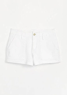 LOFT High Waist Patch Pocket Denim Shorts in White