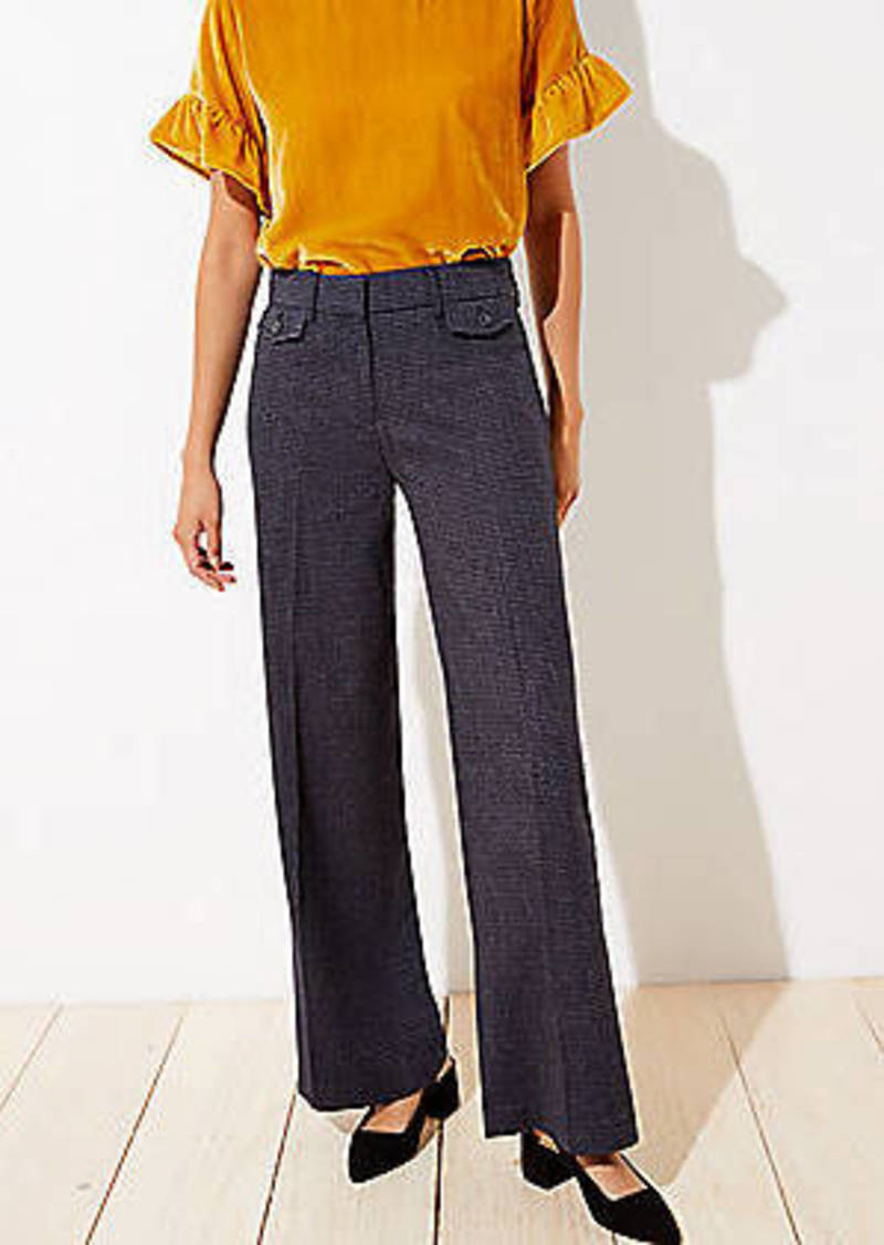 LOFT Houndstooth High Waist Wide Leg Pants