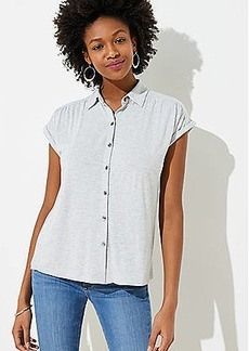 LOFT Knit Button Down Top