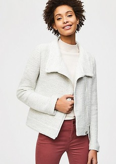 Knit Funnel Neck Moto Jacket